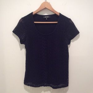 CLOSET CLEAR-OUT Navy Crochet Tee